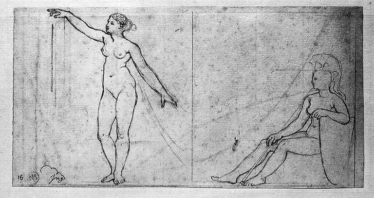 Une Renommée (celle de droite) et une figure assise des écoinçons (en bas à droite) (nues)_0