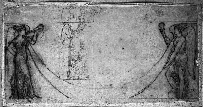 Deux Renommées (Vêtues, face à face et tenant des trompettes et les deux bouts d'une guirlande, avec reprise de celle de gauche)_0
