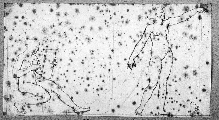 Deux Figures allégoriques nues (La première, assise et écrivant, pour l'écoiçon inférieur gauche ; la seconde, debout et le bras tendu, pour la partie inférieure de l'encadrement)_0
