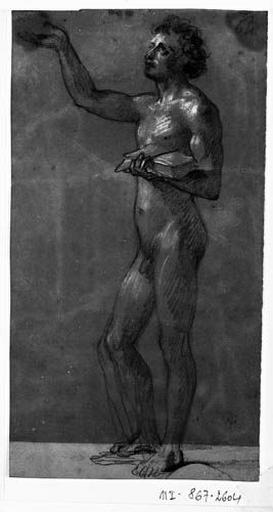 Prêtre tenant un livre sacré (Nu, de profil à gauche, levant le bras droit vers le ciel). Verso : vague silhouette de deux hommes devant l'autel_0