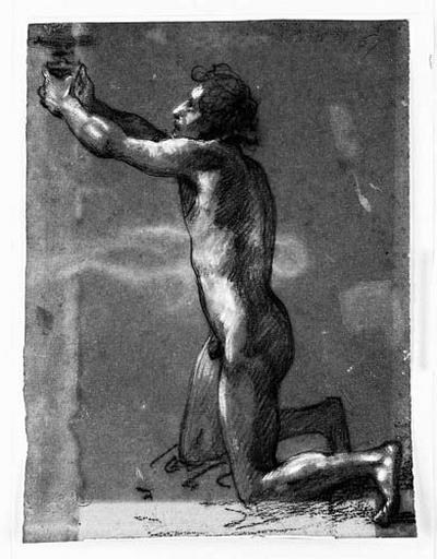 Prêtre faisant une libation (Nu, agenouillé vers la gauche, présentant une coupe des deux mains. Verso : silhouette de l'âme)_0