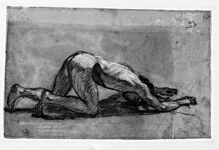 Un adorateur prosterné ; Verso : Ensemble de la composition_0