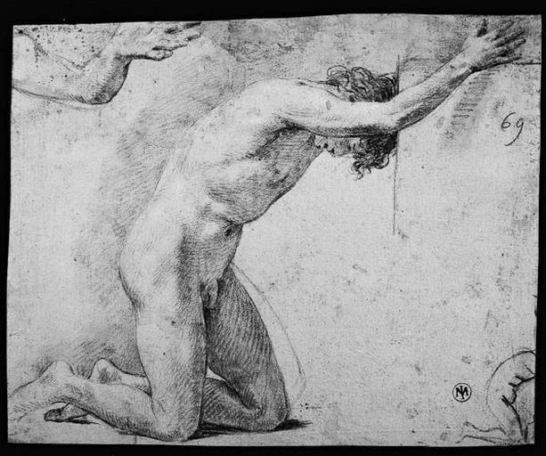 Adorateur (Nu, agenouillé de profil à droite, avec reprise du bras gauche et petite silhouette du corps)_0