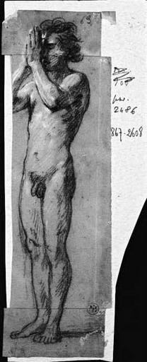 Adorateur (Nu, agenouillé de profil à droite, les mains jointes. Verso : Jeune homme, nu, de trois quarts à gauche, les mains jointes devant son visage)_0