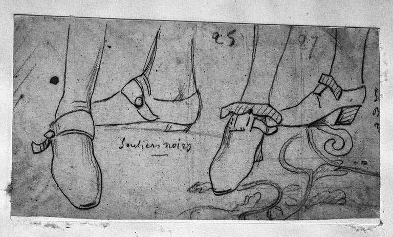 Deux Etudes de souliers d'hommes (Du temps de Louis XIV)