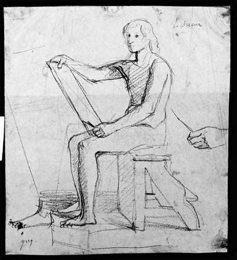 Le Sueur (Assis et dessinant, nu, avec reprise de la main gauche et du pied gauche)_0