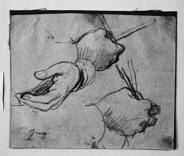 Le Sueur (Deux études pour sa main droite et une pour sa main gauche)_0