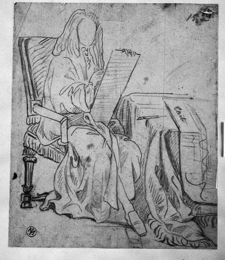 Molière (Assis devant une table, écrivant sur un carton dressé sur ses genoux)_0
