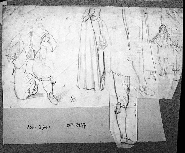 Détails de costumes du temps de Louis XIII (Et peut-être un portrait du roi à droite)_0