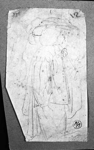 Personnage du temps de Louis XIII (A mi-corps, de profil à droite, portant un grand chapeau à plumes)_0