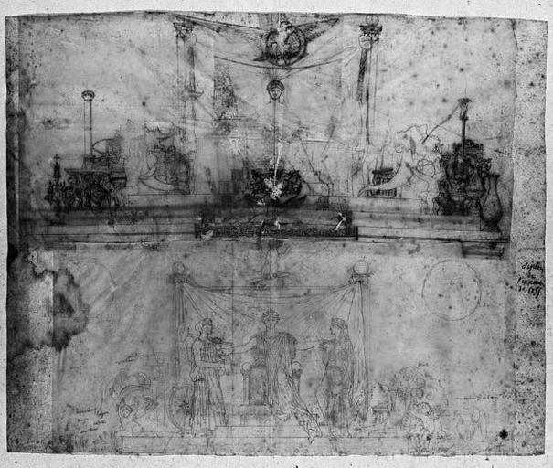 Ensemble de la composition (Deux études : en haut, mise au point de détails, repassés à la pointe : vases et objets sur les côtés, armoirie au milieu, aigle en haut, sur un calque collé ; en bas, mise au point des personnages, la triade et les angelots)_0