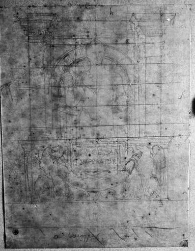 Ensemble de la composition (César nu, à mi-corps de face, devant une architecture et au-dessus de deux aigles tenant une guirlande autour d'un cartel)_0