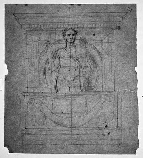 Ensemble de la composition (César nu, à mi-corps de face, devant une niche ; au-dessus de deux aigles soutenant une guirlande )