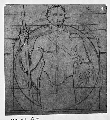 César (Nu, à mi-corps, de face, devant un cercle et deux pilastres)