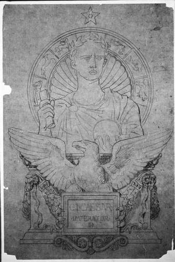 César (En buste, entouré d'un zodiaque, derrière un aigle au-dessus d'un cartel)