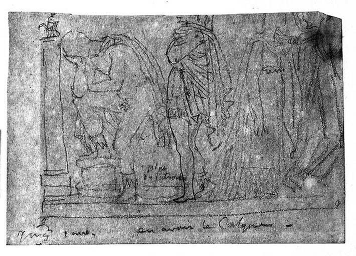 Homme pleurant devant une colonne (Un autre debout, drapé, et plusieurs femmes s'éloignant). Verso : Virgile lisant 'L'Enéide' ? Flambeau