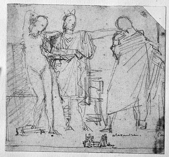 Ensemble de la composition ; Alexandre cédant Campaspe à Apelle ; (Et un vague petit croquis au-dessous)_0