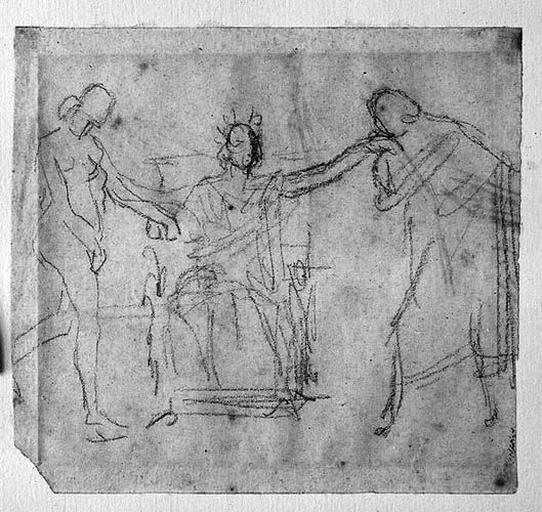 Ensemble de la composition ; Histoire d'Alexandre le Grand ; verso : vague étude de draperie_0