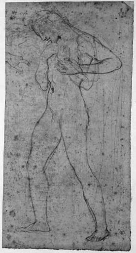 Apelle (Nu, de profil à gauche, baisant la main d'Alexandre, avec des reprises pour les mains et une variante pour le bras gauche)_0
