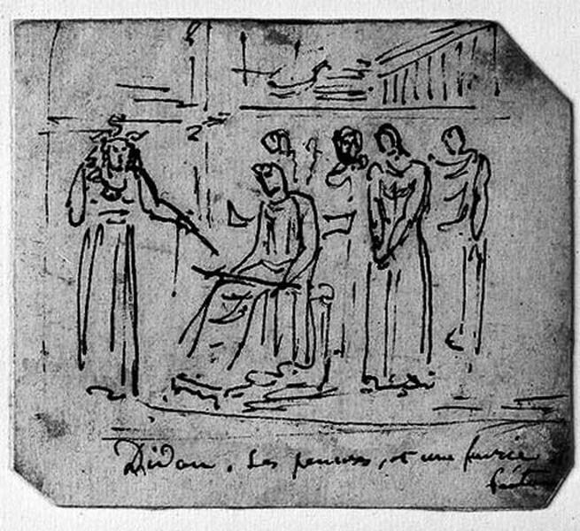 Didon assise (Une Furie devant et ses femmes derrière, avec une vue de ville et un navire)_0