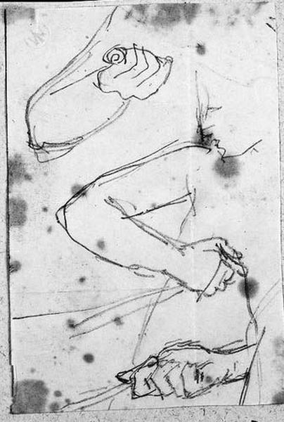 Mort de Didon (Trois études pour le bras de Didon tenant un poignard)_0