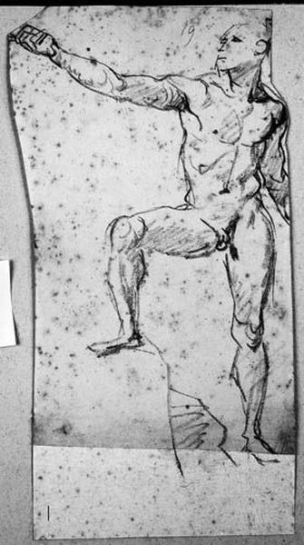 Mort de Didon (Homme nu tendant le bras droit, nu, de face, le pied droit posé sur un rocher)_0