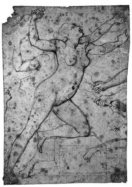 Médée, nue, un poignard à la main (De profil à droite, la jambe gauche pliée, avec de multiples reprises pour les membres et le profil du visage)_0