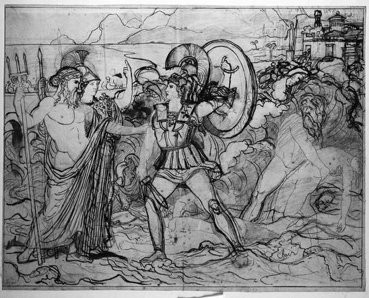 Ensemble de la composition : Minerve et Neptune arrêtant la colère d'Achille_0