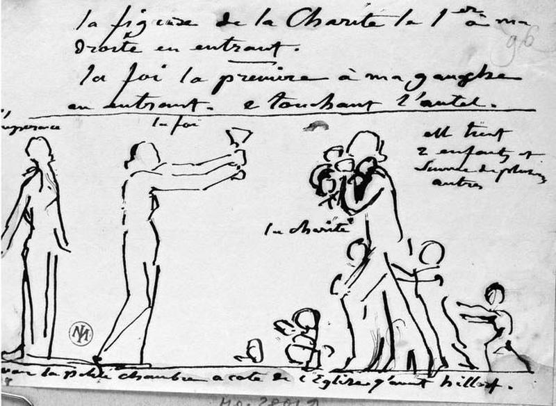 L'Espérance (bras pendants et tête levée), la Foi (un calice dans les deux mains) et la Charité (des enfants dans ses bras et plusieurs autres l'entourant)