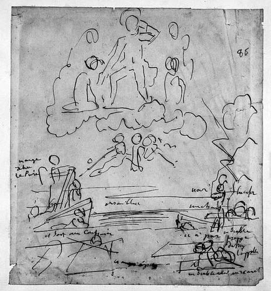 Le Christ trônant sur des nuages (Et des croquis vagues au-dessous)_0