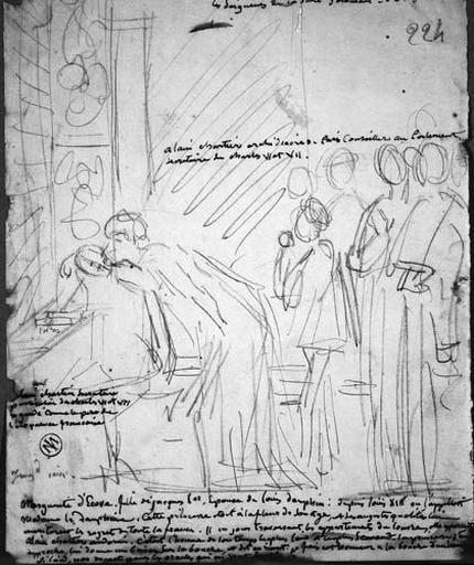 Croquis d'ensemble (Marguerite embrasse, devant ses suivantes, Alain Chartier devant une fenêtre)_0