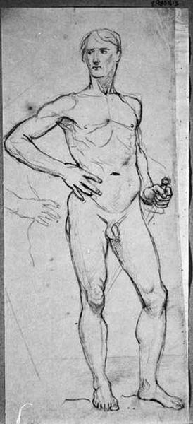 Homme nu (Debout, de face, tenant une épée, avec reprise de la main droite sur la hanche)