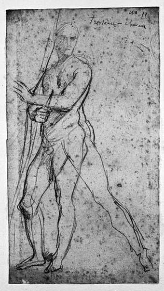 Homme nu (Tenant un rideau et un poignard)