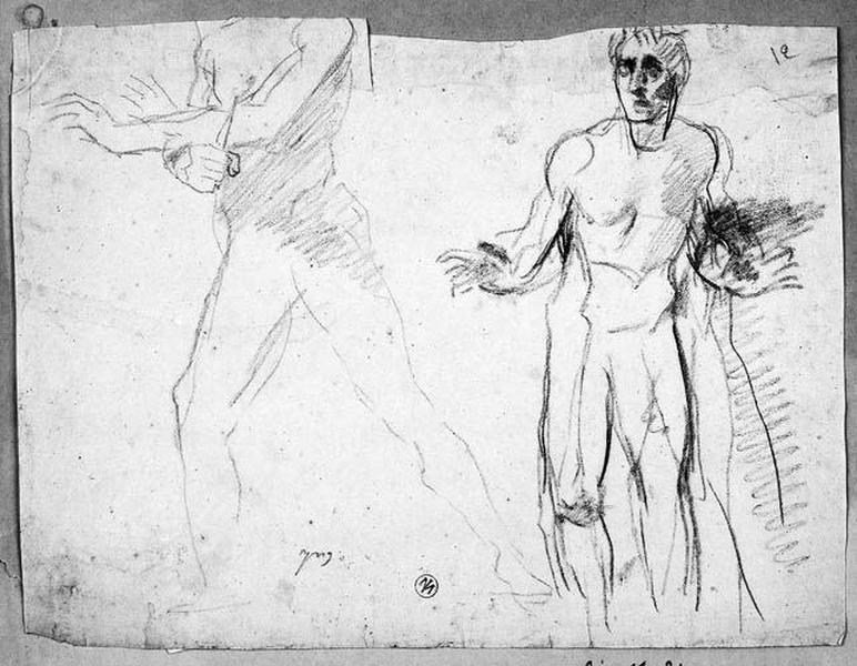 Homme nu tenant un poignard ((sans tête, tourné vers la gauche) et un autre (de face, écartant les bras))_0