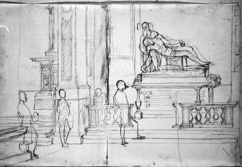 Monument funéraire dans une église (Avec quatre personnages)_0
