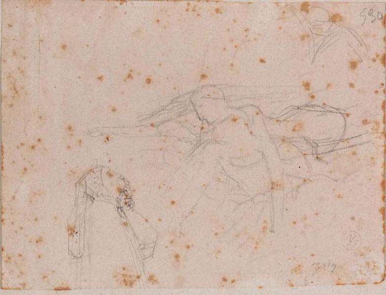 Croquis de la composition (Francesca soutient Paolo devant Dante)_0