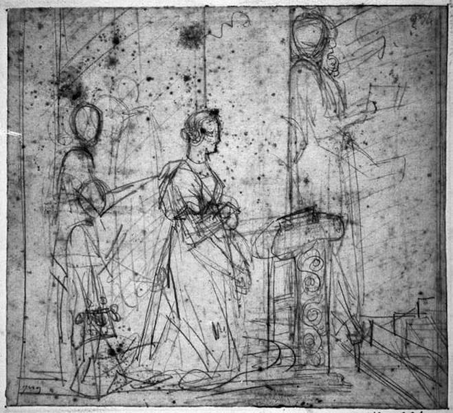 Pétrarque aperçoit Laure pour la première fois (Elle est agenouillée, avec plusieurs personnages et Pétrarque est caché derrière une colonne)_0