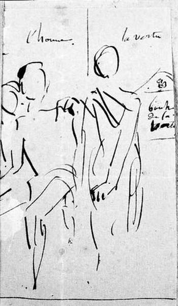 Un homme assis entre deux femmes. L'une, assise et caressante ; l'autre, debout et sévère_0