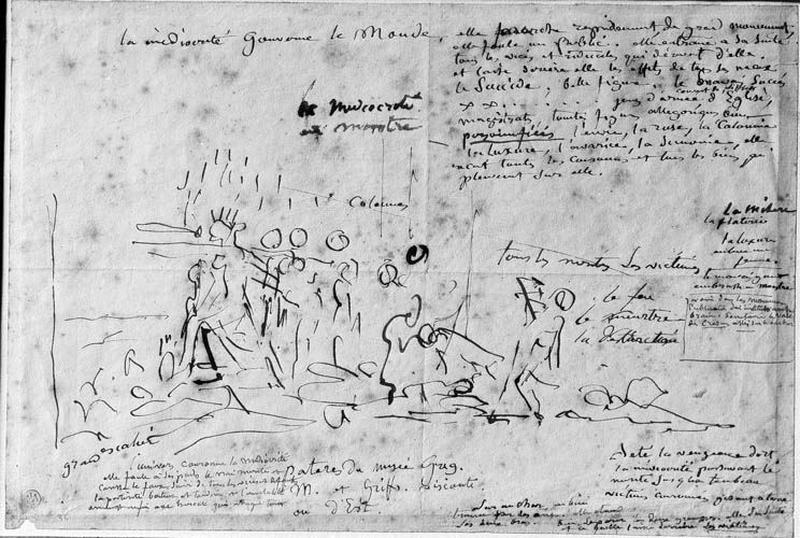 La Médiocrité, reine du monde (Entourée de nombreux personnages, elle marche sur un cadavre tandis que tombe une pluie d'or et de faveurs)_0