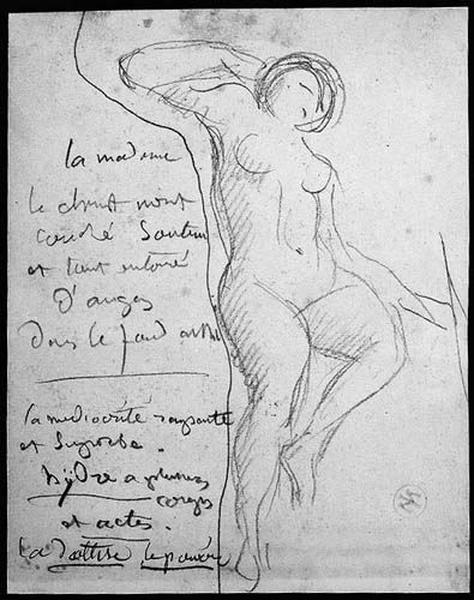 Une femme nue (La jambe gauche levée, le bras droit levé à la hauteur de la tête). Verso : Quatre croquis (une femme debout, accoudée à un rocher ; Hercule assis ; deux figures couchées)