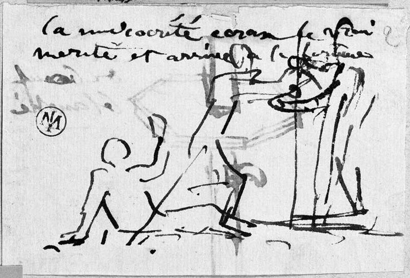 Personnage couché sous les pieds d'un autre (Celui-ci s'avance vers un troisième). Verso : Vasque ?_0