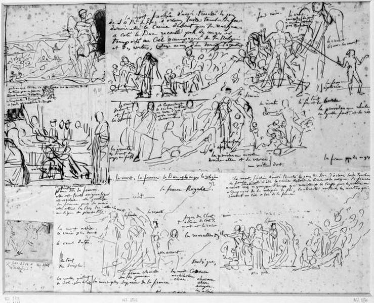 Croquis de la composition : La mort du Duc d'Orléans