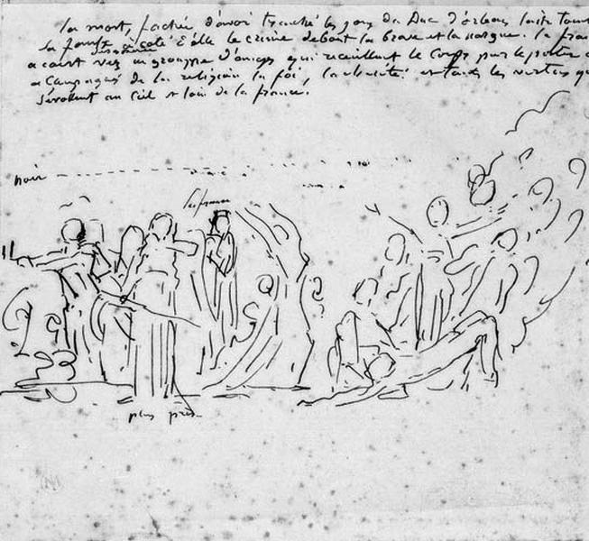 Croquis de la composition : La mort du Duc d'Orléans_0