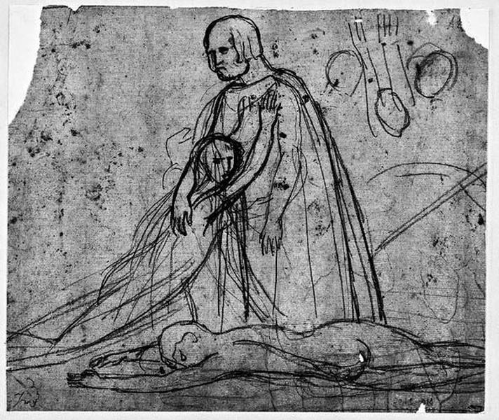 Un homme agenouillé tenant dans ses bras une jeune fille (Un personnage mort est à leurs pieds)_0