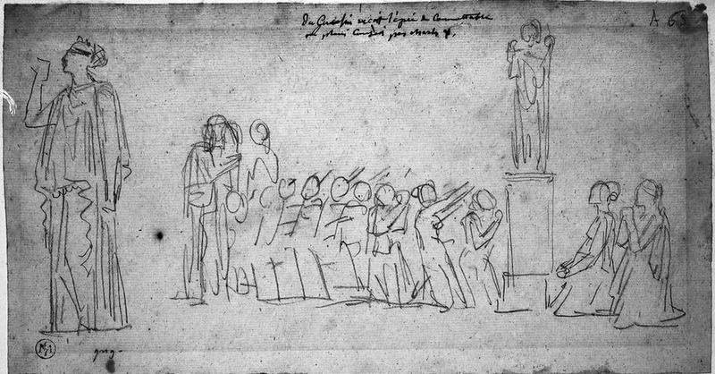 Suppliantes (Agenouillées au pied d'une statue, avec étude de femme isolée)_0
