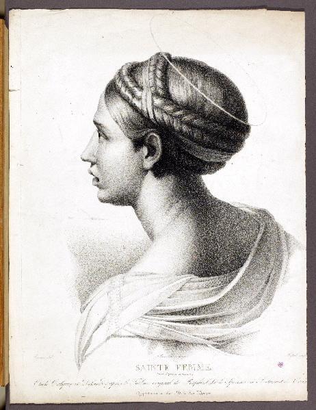 RAPHAEL (d'après), COUNIS Salomon Guillaume (dessinateur), BONNEMAISON Chevalier Féréol de (lithographe), MASSOL A B (graveur) : Sainte femme