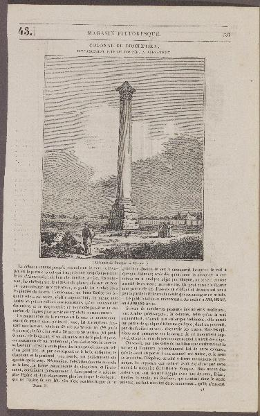 journal : Colonne de Diolétien, Magasin Pittoresque