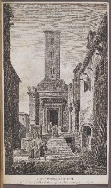 LEPAGELEZ (graveur), LIENARD Jean Baptiste (graveur), CASSAS Louis-François (dessinateur) : Vue du temple d'Esculape