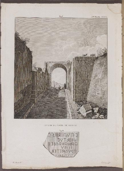 MAZOIS François (archéologue, architecte), FEOLI Vincenzo (graveur) : Vue de la Porte du Sarnus