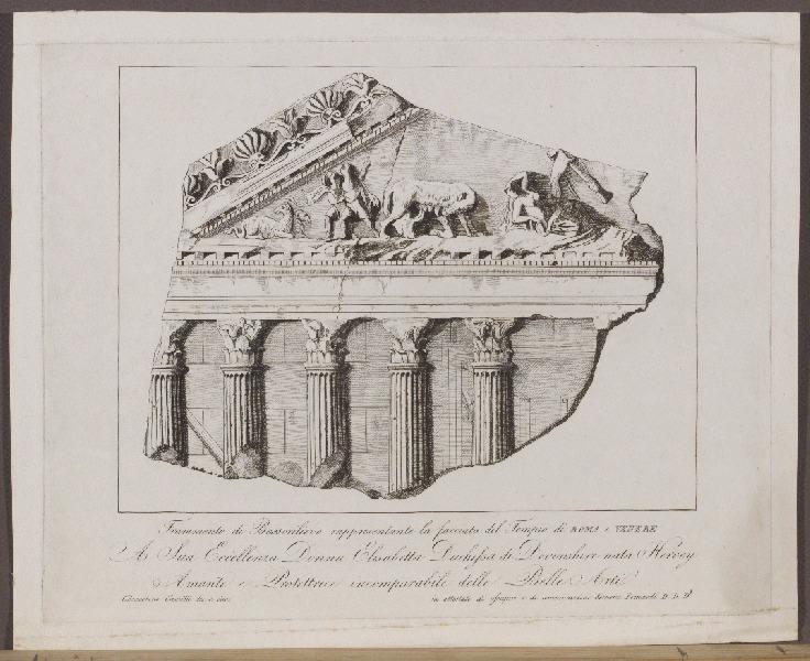 GIOACCHINO Camilli (graveur, dessinateur) : Frammento di Bassorilievo rappresentante la facciata del Tempio di Roma e Venere